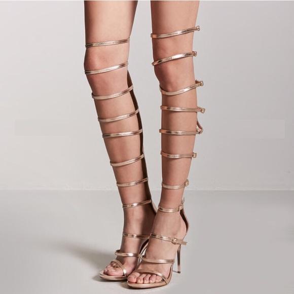 05157418f54b Rose Gold Metallic Gladiator Heels